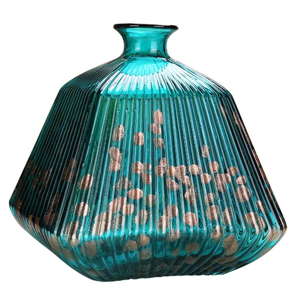 ガラス花瓶、家の装飾、ホテルのリビングルーム、装飾品、フラワーアレンジメント (Color : GREEN, Size : SMALL) B07RWRFFHL GREEN Small