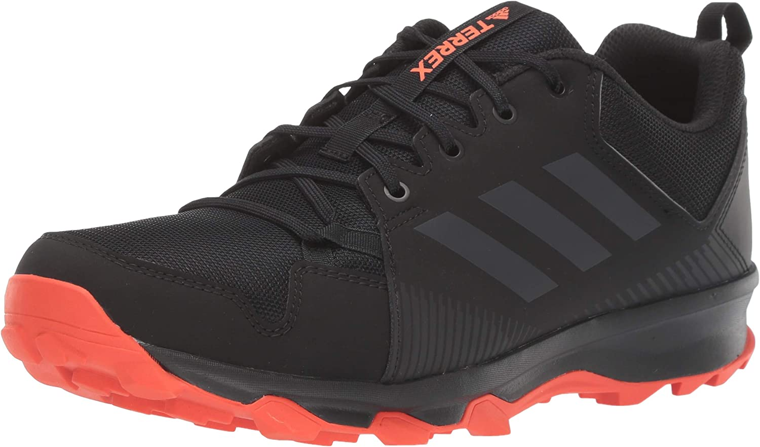 adidas outdoor Men's Terrex Tracerocker Trail Running Shoe, Black Carbon Active Orange, 12.5 D US