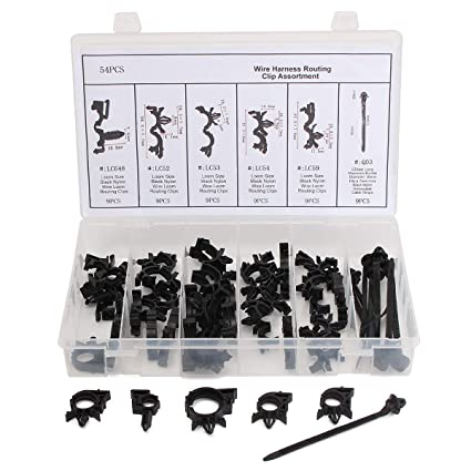 54pcs wiring harness routing convoluted conduit clip assortment withWiring Harness Fasteners #17