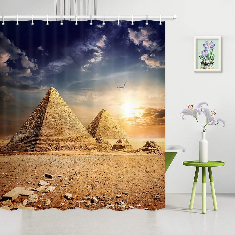 Sunset Scenery Desert Camel Waterproof Fabric Shower Curtain Set Bathroom Hooks