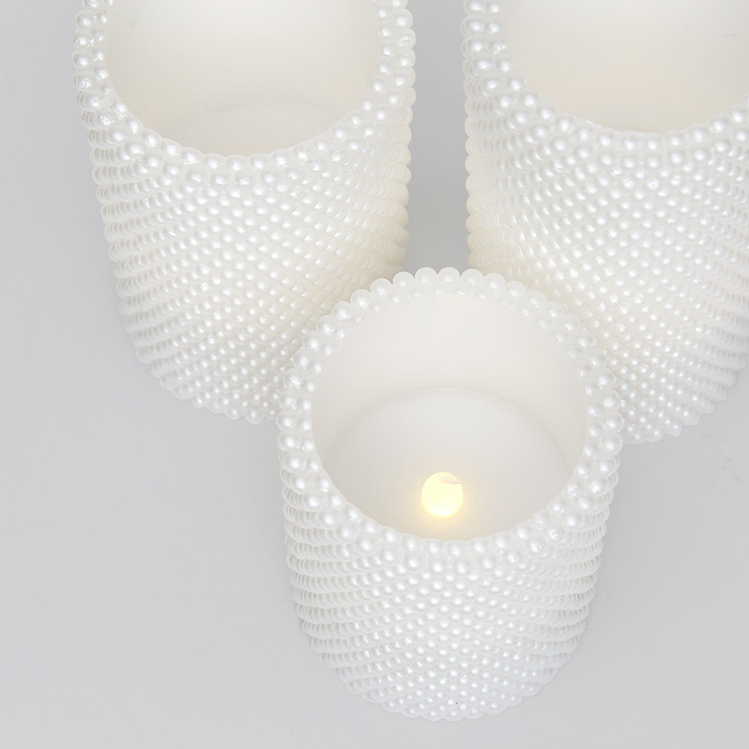 Decorative Textured Flameless Candles Set with Remote, Flickering Pearl Candle by LampLust, 4/8 Hr Timer, Real Wax, White LED Glow, Indoor use - Set of 3 by LampLust (Image #3)