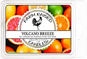 Farm Raised Candles 100% Soy Scented Wax Melts 6 Cubes 3 Ounces 100% All Natural American Soy Wax. Blended with Essential Oil Scented Warmer Cubes. (Volcano Breeze)