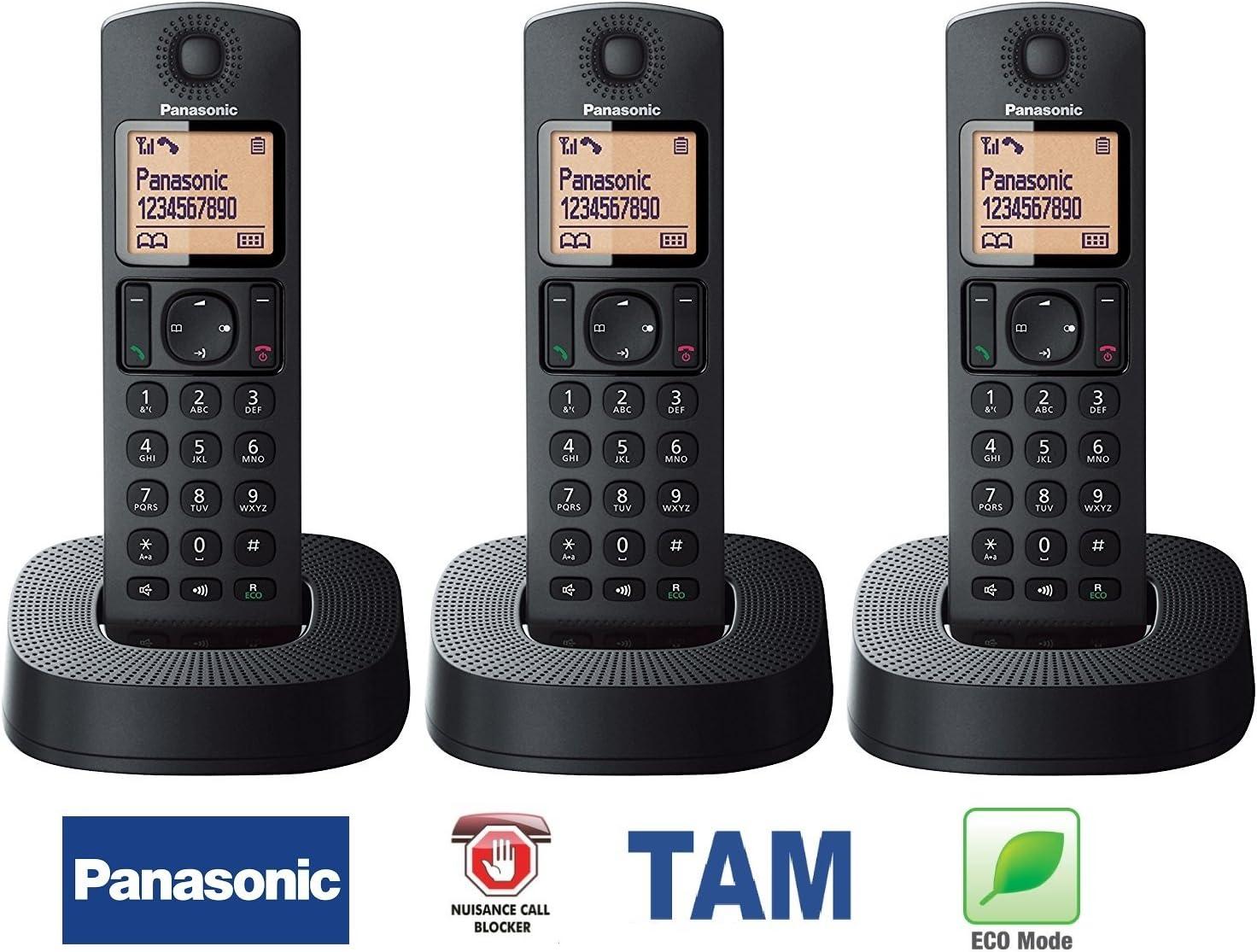 Auriculares digitales inalámbricos Panasonic KX-TGC 3 con sistema de respuesta telefónica y bloqueo de llamadas de nutrición, manos libres, altavoz, teléfono, alarma avanzada, color negro, pack de 3: Amazon.es: Electrónica
