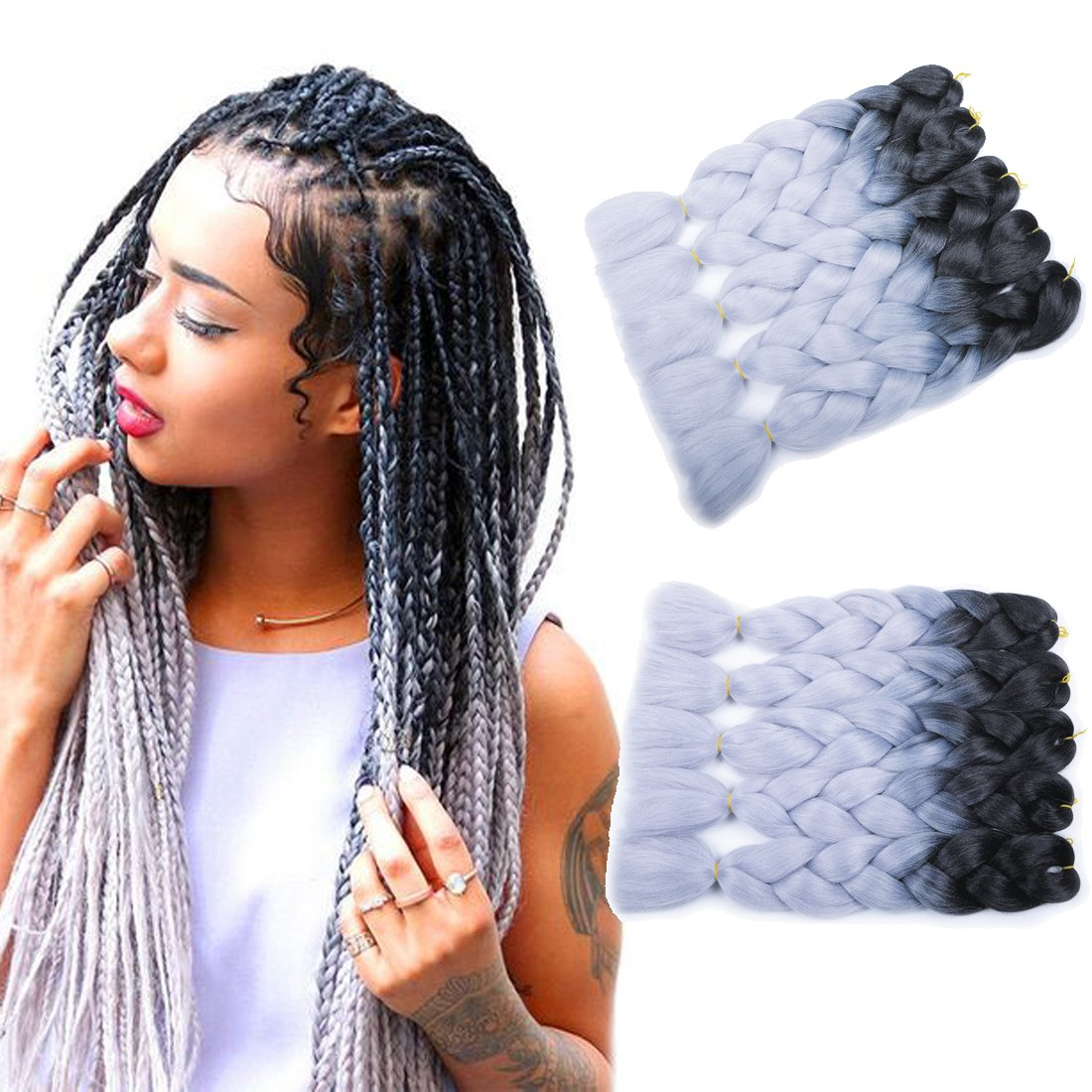 MSHAIR Ombre Jumbo Braiding Hair Extension Synthetic Kanekalon Fiber for Twist Braiding Hair Black Silver Gray Color 24 Inch 5 Pieces/lot by MSHAIR