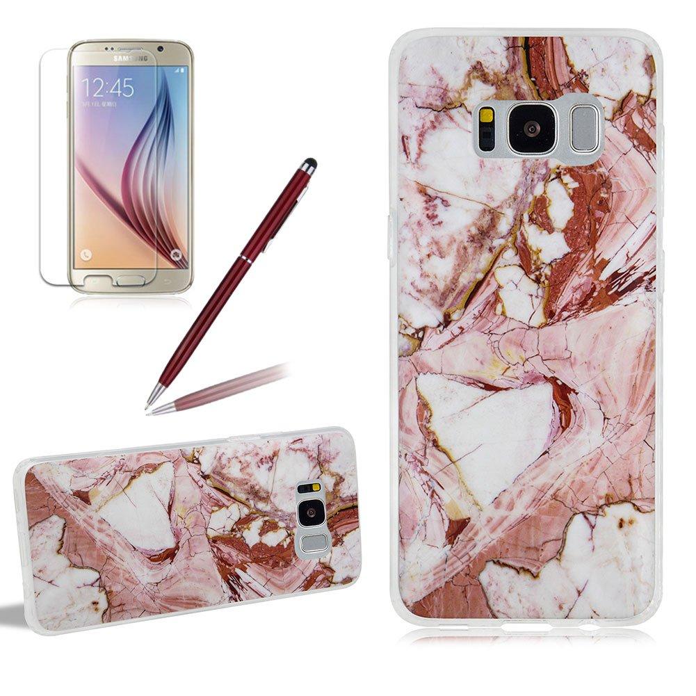 Girlyard Marmor Silikon Hülle für Samsung S8, Ultra Dünn Weich TPU Flexible Handyhülle Tasche Schutzhülle Anti-Scratch für Samsung Galaxy S8 (nicht für Samsung Galaxy S8 Plus) Schwarz