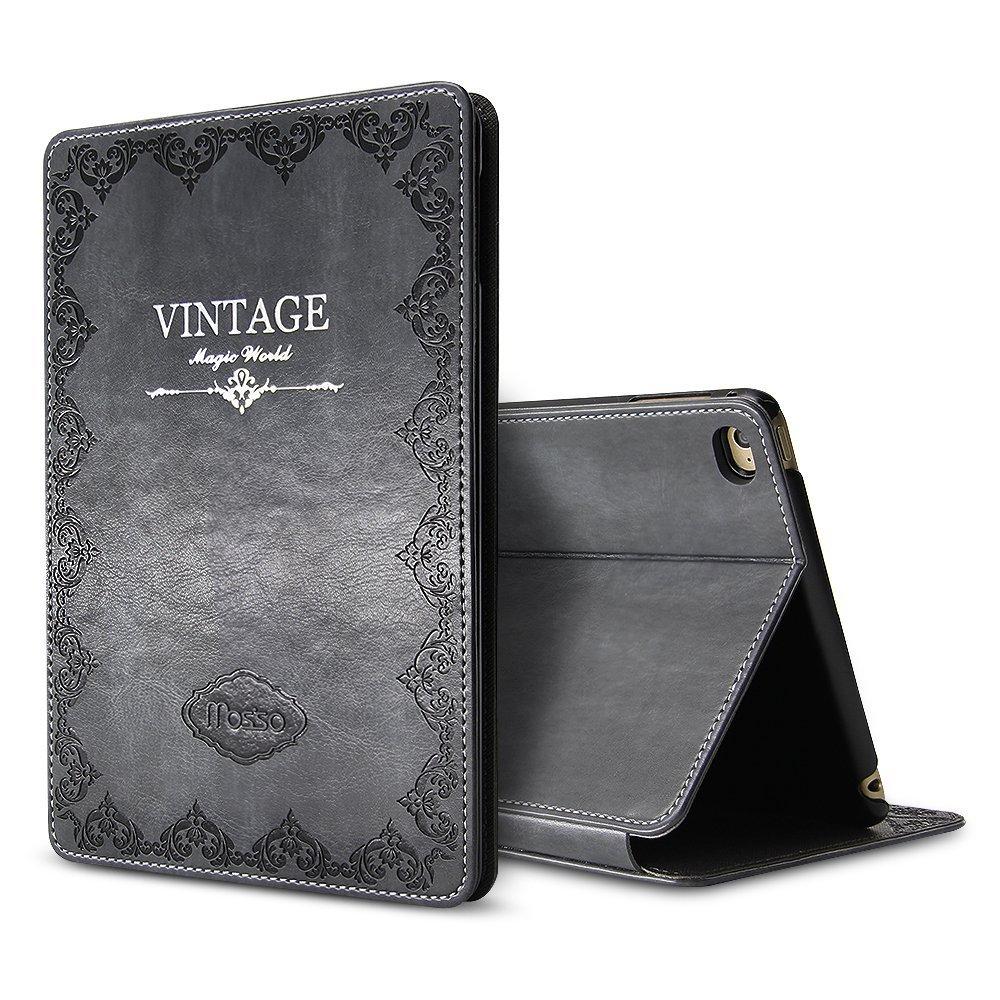New iPad 9.7 2017 Vintage Case, Miniko(TM) Luxury Retro Ancient Vintage Old Book Style Folio Case Cover for Apple iPad 9.7 Premium PU Leather Smart Case Auto Sleep Wake Slim Fit Magnetic Stand (Gray)