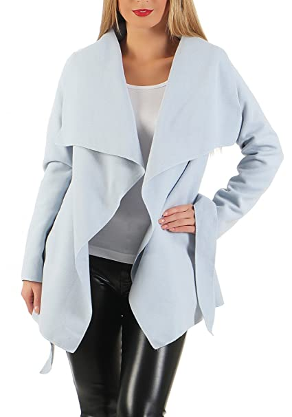 heiß-verkauf echt tolle Preise billig werden Damen kurz Mantel Trenchcoat mit Taschen ( 541 )