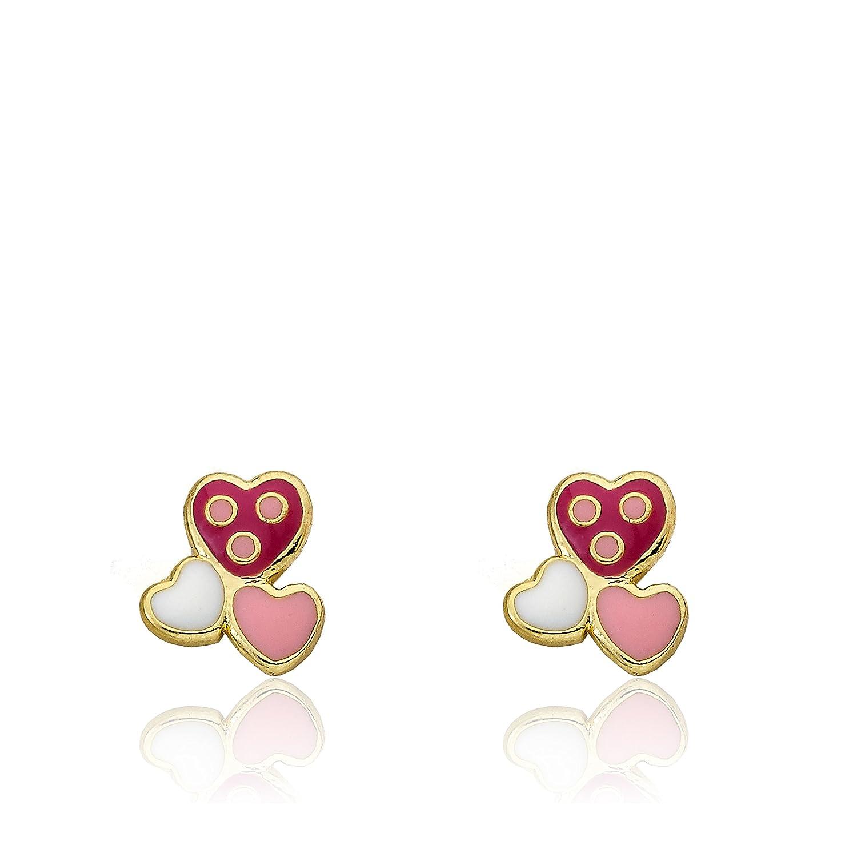 Little Miss Twin Stars I Love My Jewels Girls 14k Gold-Plated Multicolored Enamel Triple Heart Stud Earrings