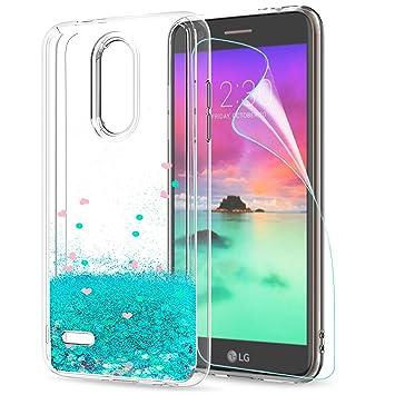 LeYi Funda LG K11 / K11 Plus / K10 2018 Silicona Purpurina Carcasa con HD Protectores de Pantalla,Transparente Cristal Bumper Telefono Fundas Case ...