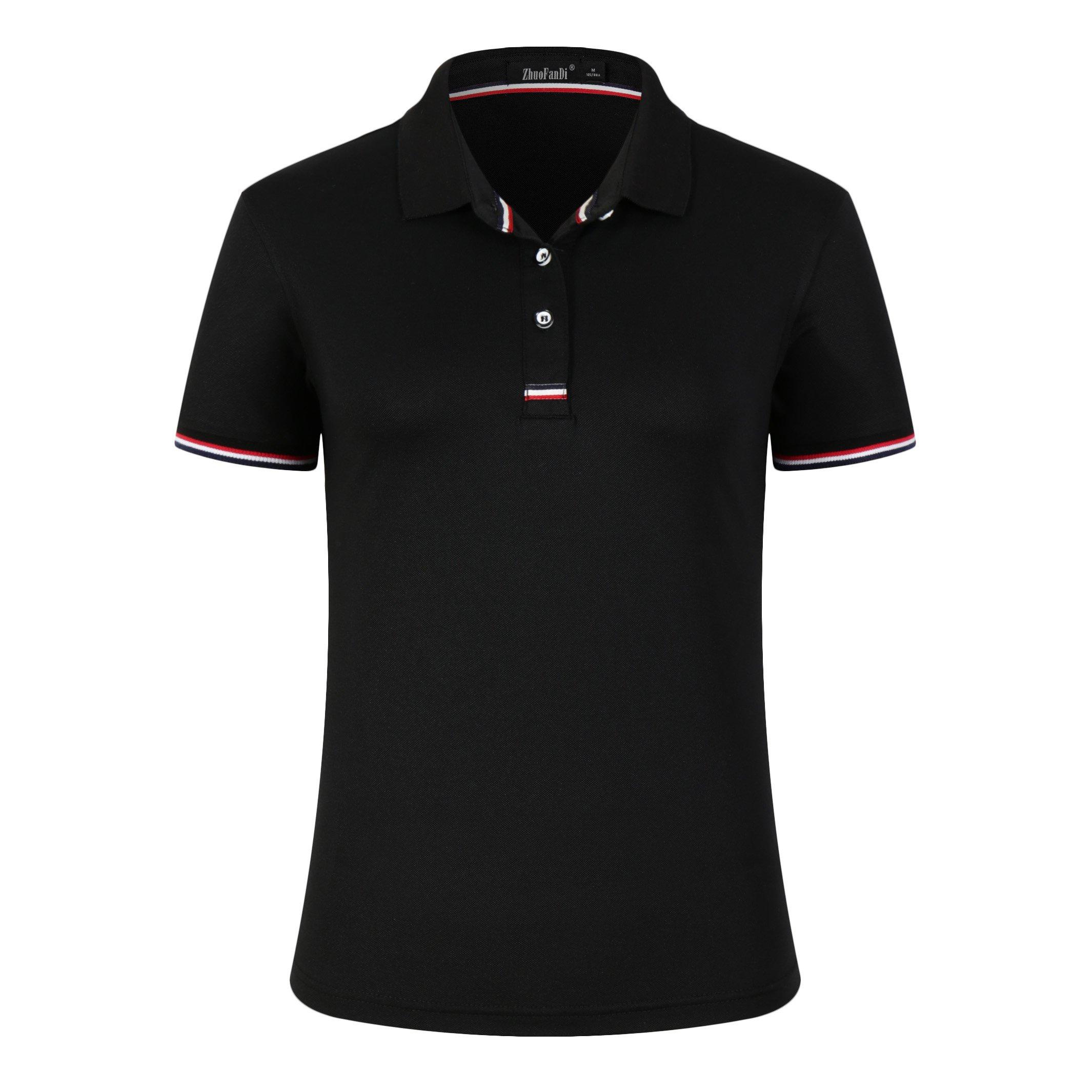 Women Classic Striped Collar Slim Fit Short Golf Polo Shirt Black S