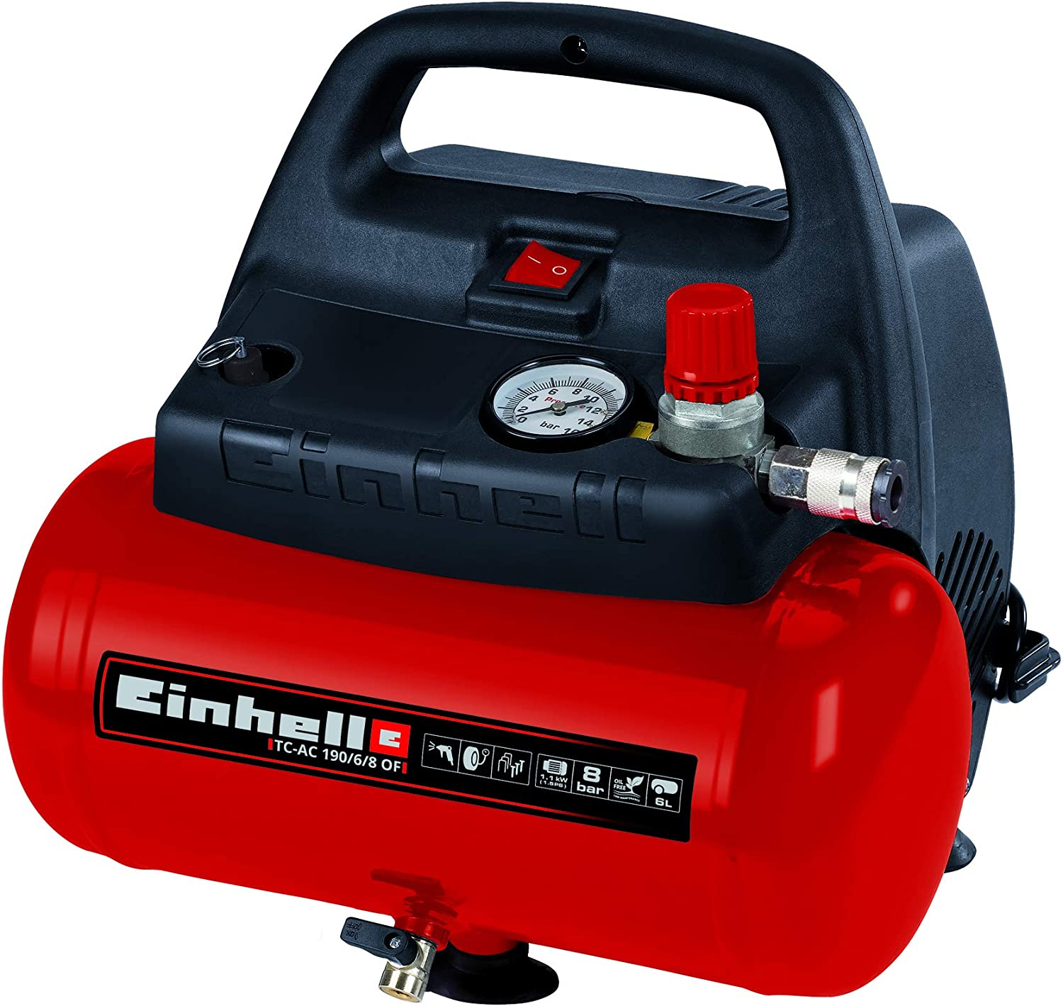 Einhell TH-AC 190/6 OF - Compresor de aire, 8 bar, depósito 6 l ...