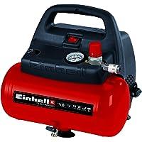 Einhell TH-AC 190/6 OF - Compresor de aire, 8 bar, depósito 6 l, aspiración 185 l /min, 1100 W, 230 V, color rojo y…