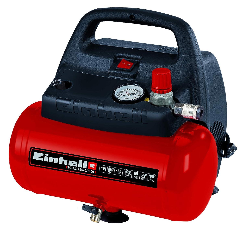 Compresor de aire, 8 bar, depósito 6 l, aspiración 185 l/min, 1100 W, Einhell TH-AC 190/6