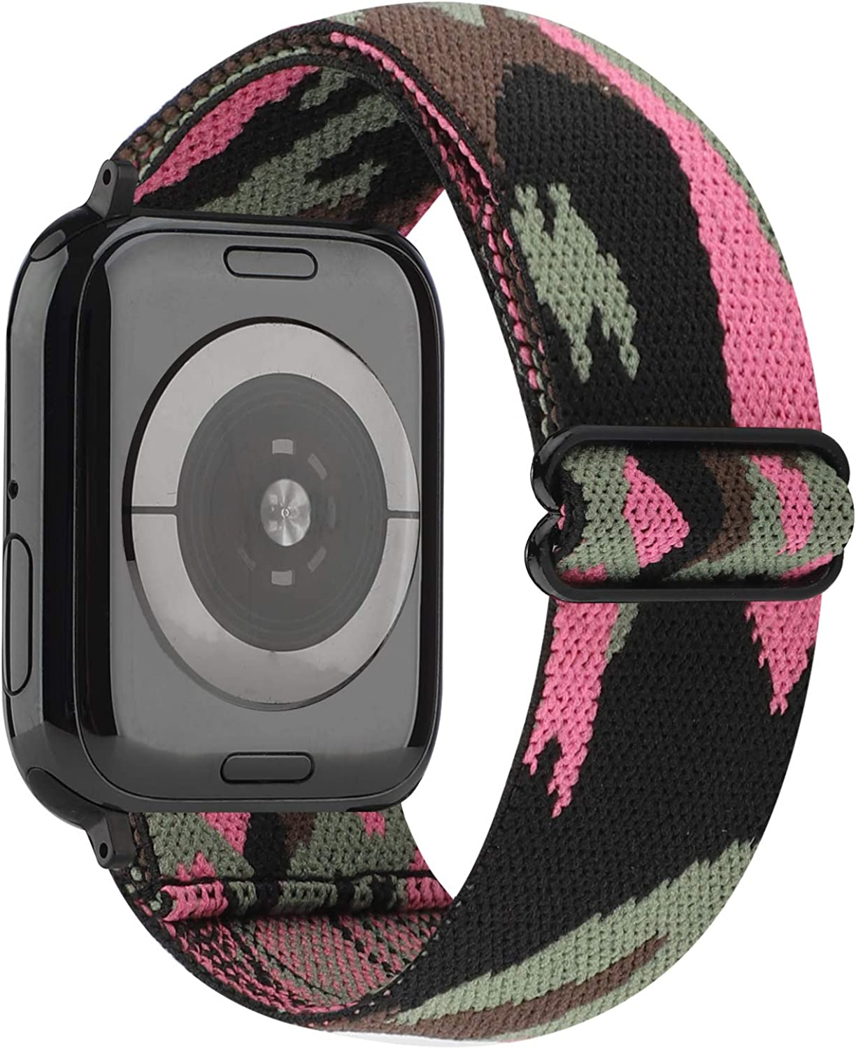 YOSWAN Stretchy Nylon Solo Loop Strap Compatible with Apple Watch Band 38/40mm Soft Breathable Adjustable Elastic Women Wristband for iWatch SE Series 6 5 4 3 2 1