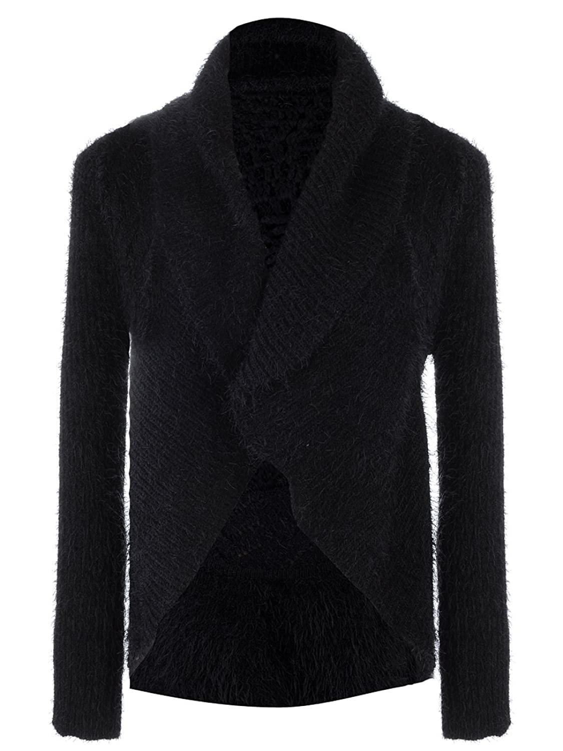 Anna Kaci S/M Fit Womens Classic Long Collared Buttonless Cardigan Black