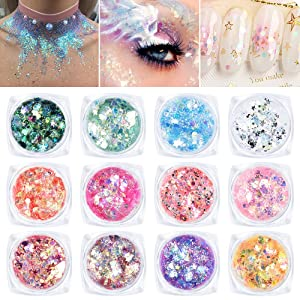 Ownest 12 Colors Holographic Chunky Glitter Gel Set, Christmas Party Makeup Face Body Eye Lips Hair Nail Cosmetic Festival Chunky Glitter Eyeshadow, Mixable, No Need Glue