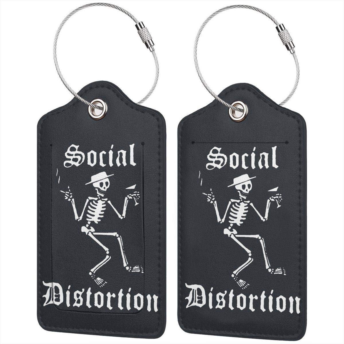 Social Come Distortion Funny Jogging Leather Luggage Tags Suitcase Tag Travel Bag Labels With Privacy Cover For Men Women 2 Pack 4 Pack