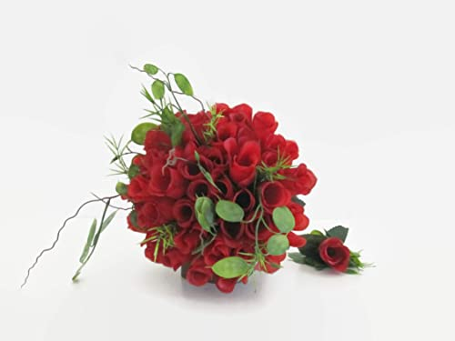 Brautstrauß weiße lilien und rote rosen