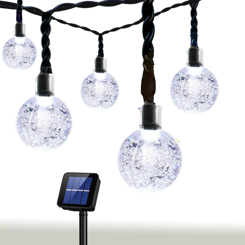 Bolansi Solar String Light 20 ft 30LED Crystal Ball Waterproof String Lights Solar Powered Fairy Lighting for Garden Home Landscape Holiday Decorations White