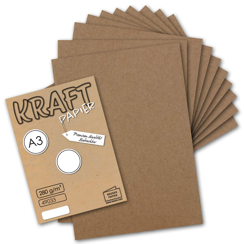 300x Vintage Kraftpapier DIN A3 280 g m² Natur-braunes Recycling-Papier, 100% ökologisch Bastel-Karton Einzel-Karte I Umwelt by Gustav NEUSER® B07G478Z4V | Wunderbar