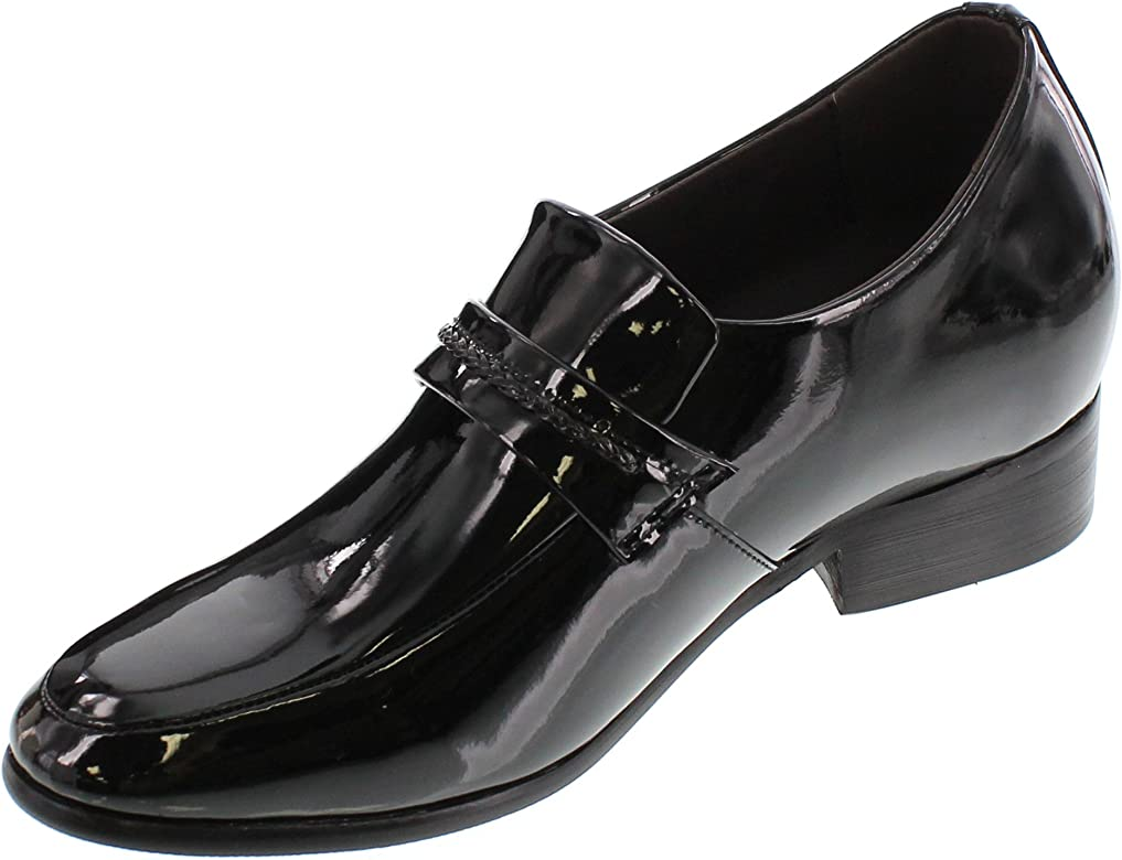 2.6 Inches Taller Calden Mens Invisible Height Increasing Elevator Shoes Black Patent Leather Lightweight Lace-up Clasic Formal Oxfords K18132