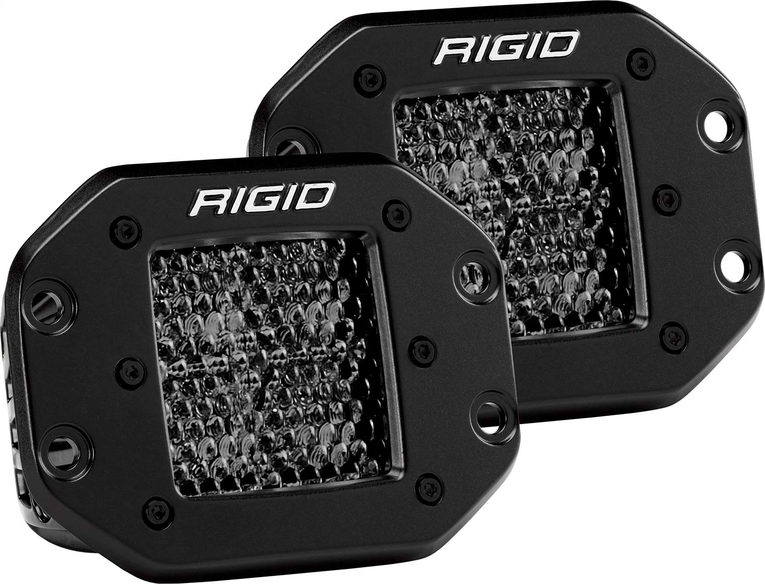 RIGID 212513BLK D-SERIES PRO SPOT DIFFUSED MIDNIGHT FLUSH LEDライト(2個セット)212513BLK B07N14VJ8B