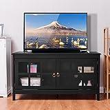 "TANGKULA 50"" TV Stand Modern Wood Storage Console Entertainment Center w/2 Doors Black"