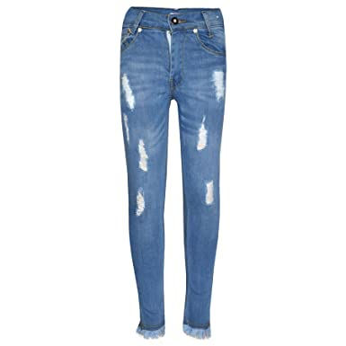 fe3d3c73f10f9 Amazon.com: Girls Skinny Jeans Kids Light Blue Denim Ripped Stretchy Pants  Trouser Jeggings: Clothing