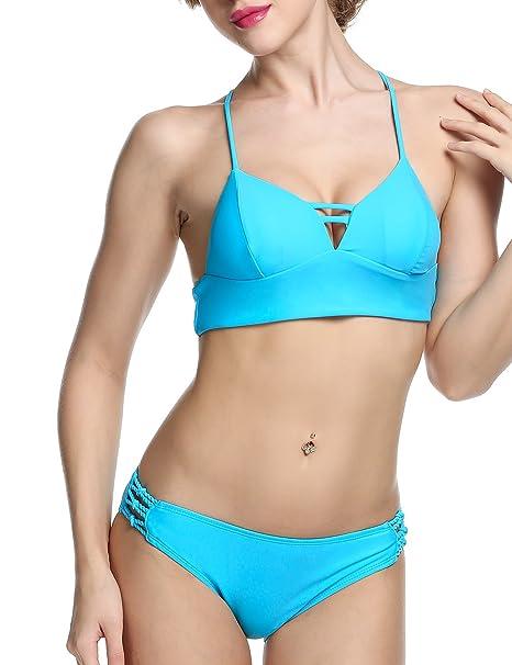 42669d7cc95 Ekouaer Womens Hot Halter Push up Bikini Top & Bottom Swimsuit Lingerie  Plus Size (Blue