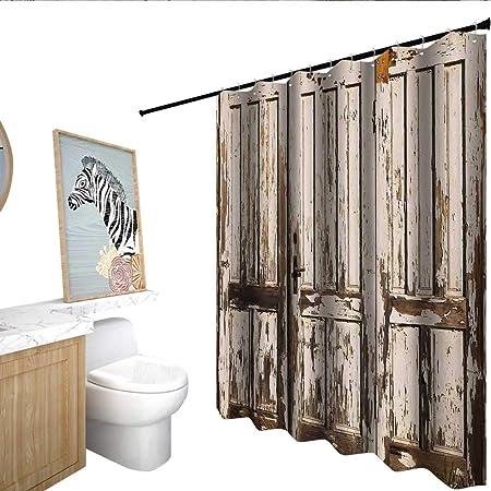 Cortina rústica para mampara de Ducha, diseño rústico, para Puerta de Granero, cabaña, Estilo Rural, para Entrada de casa, Viajes, Color Gris Topo: Amazon.es: Hogar