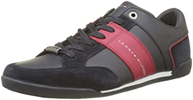 960666cc7828a Tommy Hilfiger Men s Corporate Material Mix Cupsole Low-Top Sneakers   Amazon.co.uk  Shoes   Bags