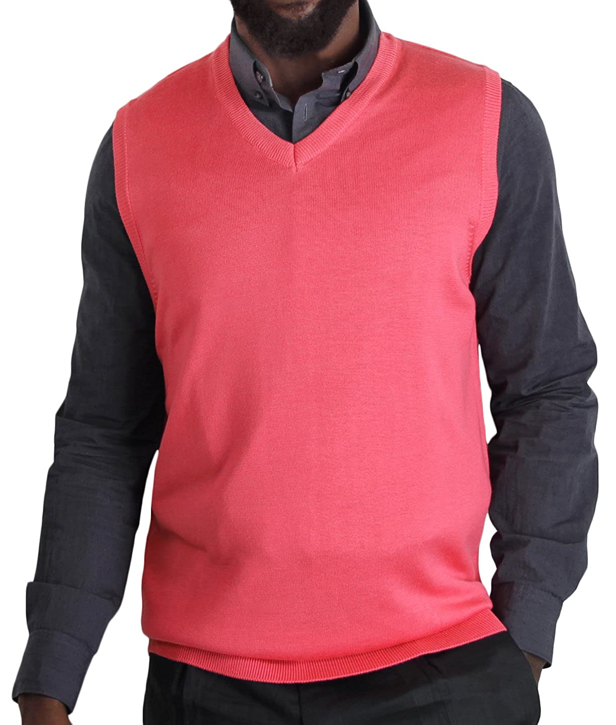 Blue Ocean Solid Color Sweater Vest at Amazon Men's Clothing store: