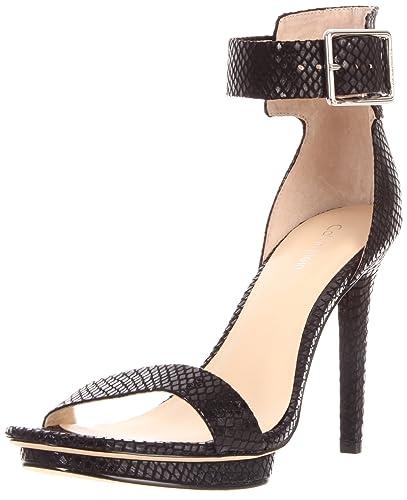 37751f43587 Amazon.com | Calvin Klein Women's Vivian Patent Snake Print Sandal ...