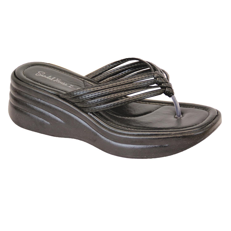 Sandali Da Donna Da Donna Diamante Da Infilare Punta Tanga Pantofole Comodo Nuovo - Nero - sh344, 6 UK