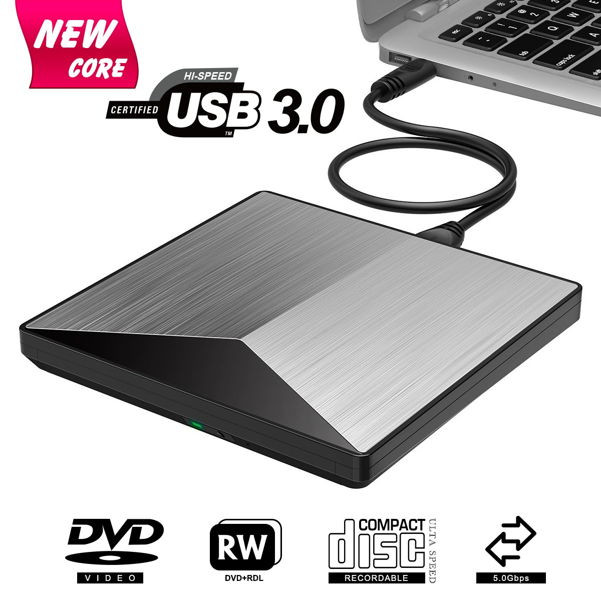 BOSLISA External DVD Drive, USB 3.0 CD DVD +/-RW Burner Rewriter Player, Optical DVD Superdrive High Speed Data Transfer for Laptop Macbook Desktop Computer Support for Windows10/8/7/Mac OS (Silver)