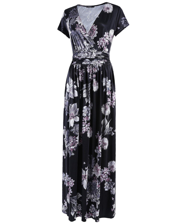 OUGES Womens V-Neck Pattern Pocket Maxi Long Dress