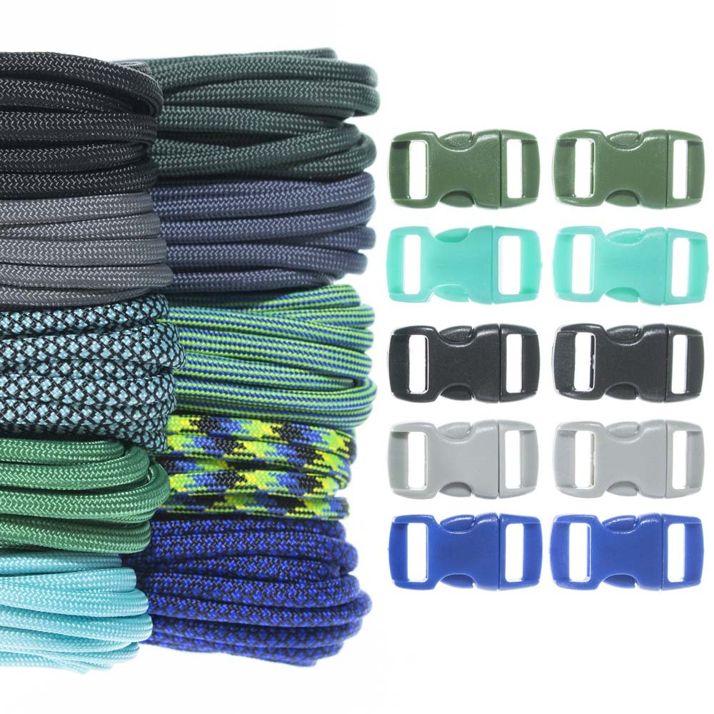 Craft County 100 Foot 550 Paracord Crafting Kits - for All Ages and Skill Levels - Create Paracord Bracelet, Lanyard, Keychain Projects (Chrysocolla)