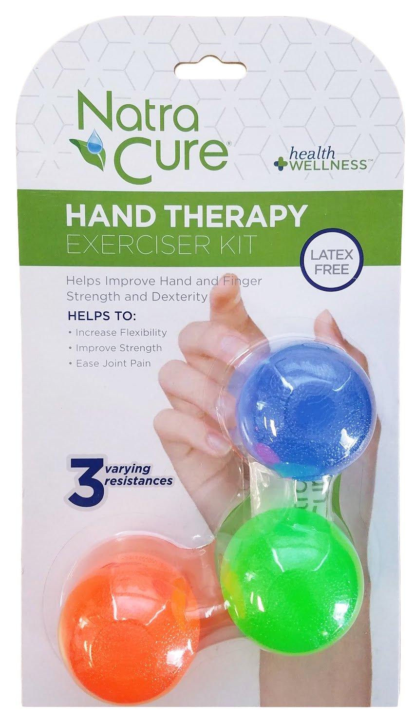 NatraCure Hand & Foot Therapy Exerciser Kit for PT, Arthritis, Plantar Fasciitis & Stress Relief (3 Pack)