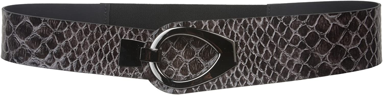 2 Elastic Belt with Alligator Patent Boa Tabs/& Gunmetal Hook Buckle