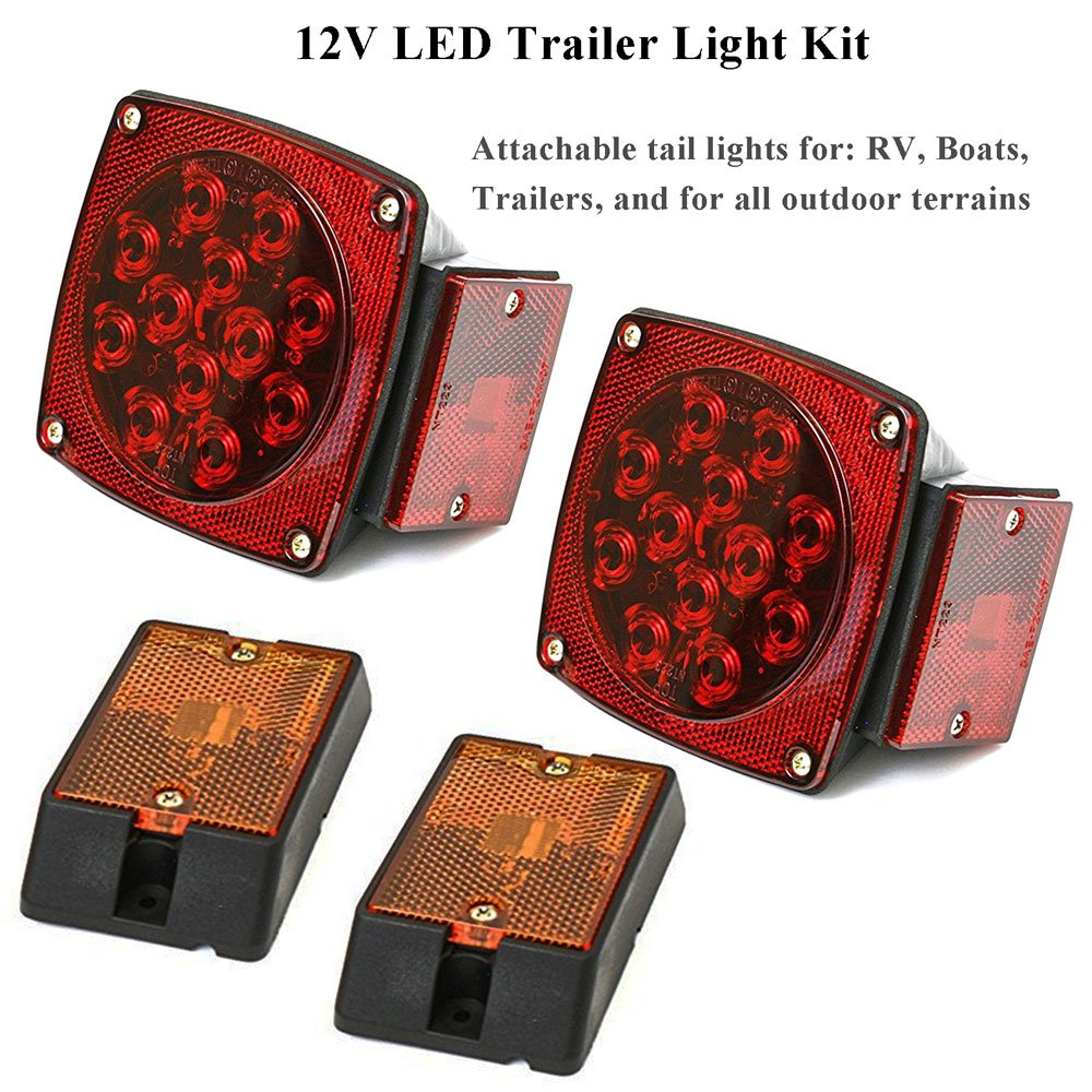 Eeekit 12v Submersible Under 80 Inch Led Trailer Trail Light Kit Wiring Lights With 25ft Harness 862615