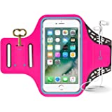 iPhone 7 Armband, Sport Waterproof Running Exercise Gym Fitness Cell Phone Sportband bag with Fingerprint Touch & Key Holder & Card Slot for iPhone 7, 6s 6 5s se Samsung Galaxy S8 S7 S6 LG (Pink)