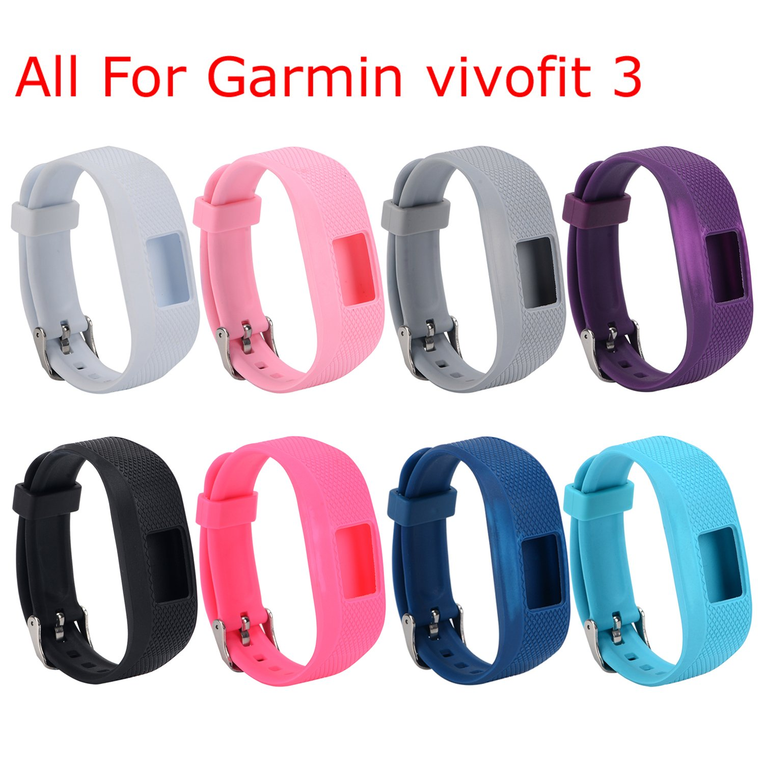 I-SMILE Replacement Wristband with Secure Clasps for Garmin Vivofit 3 Only(No Tracker, Replacement Bands Only) (Set of 8)