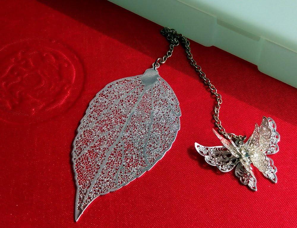 f/ür B/üro Schule Geschenk Amupper Kawaii Metall-Lesezeichen in Blattform mit Schmetterling Schreibwaren silberfarben