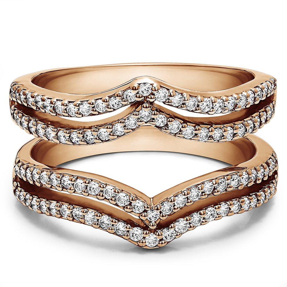 TwoBirch 1 1/2 ct. Cubic Zirconia Double Row Chevron Style Ring Guard in Rose Gold Plated Sterling Silver (1.5 ct. twt.)