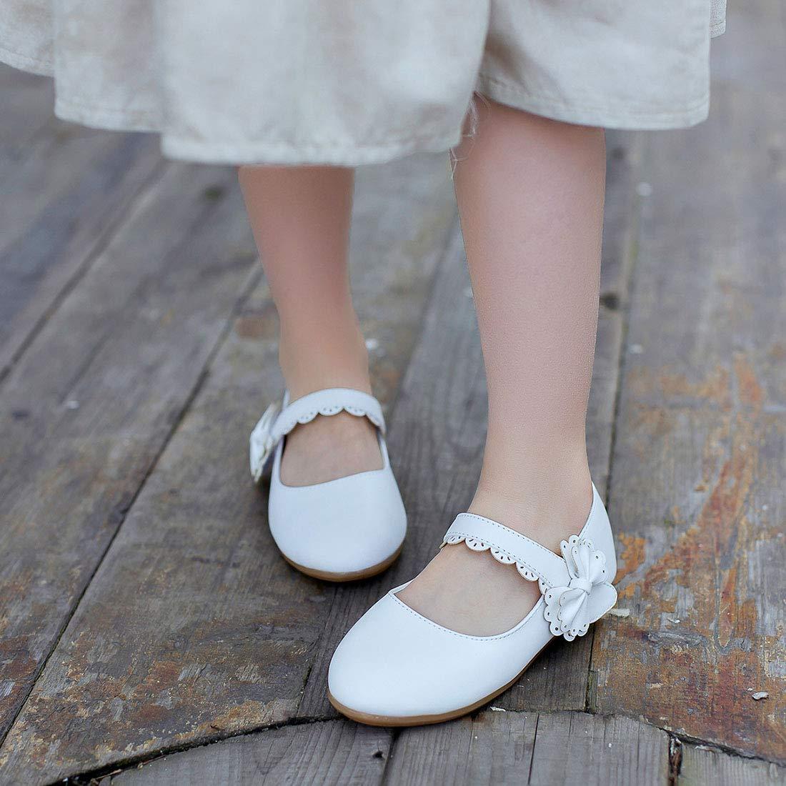 JTENGYAO Kid Girls Ballet Flats Shoes Bow Jane Mary Bridesmaid Wedding Princess Dress