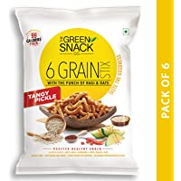 The Green Snack Co. 6 Grain Stix Tangy Pickle (Pack of 6) 25g Each (Multigrain Healthy Snack)