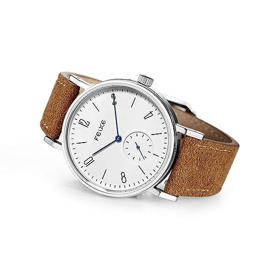 FEICE Reloj Mecánico Automático para Hombres Reloj Bauhaus Minimalista Analógico Relojes de Pulsera Unisex Reloj Zafiro Sintético FM201: Amazon.es: Relojes
