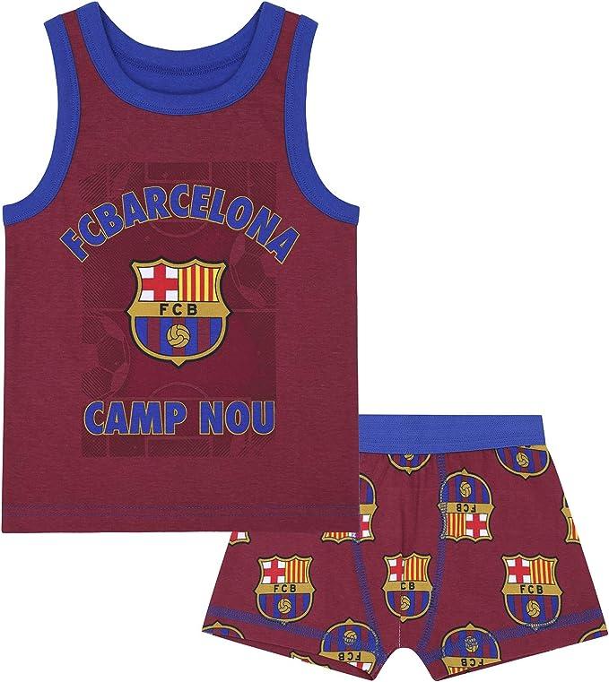 FC Barcelona Official Soccer Gift Boys Boxer Shorts /& Vest Set