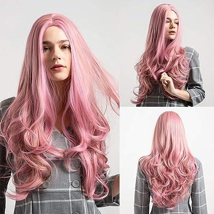 Peluca de pelo sintético para mujer, color rosa: Amazon.es ...