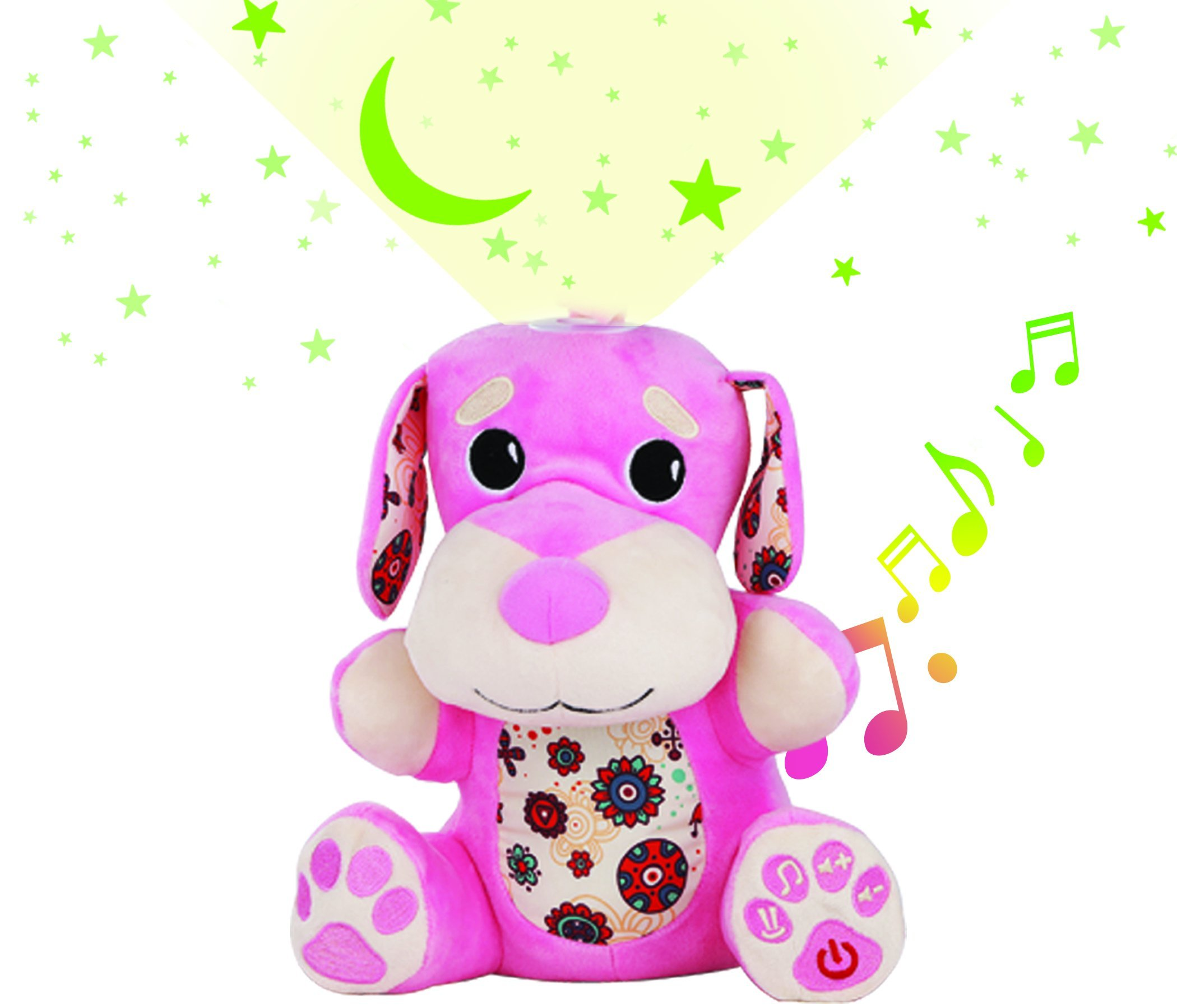 Stella Baby Sound Machine - Nursery Musical Soother Star Projector Toy, 6 Pacifying Lullaby Tones, Perfect Sleeping Shusher Aid System, (Pink)